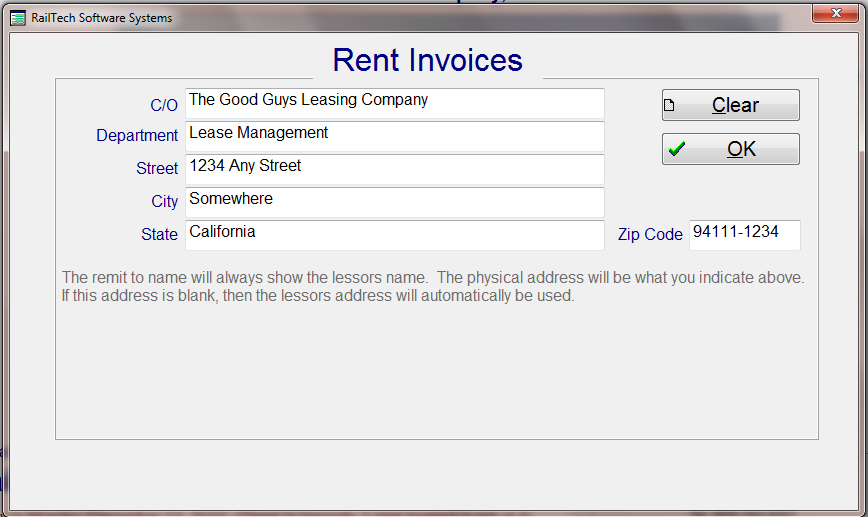 The System By Default Will Show The Lessoru0027s Name And Address On The Invoice  For The Remit To.  Invoice For Rent